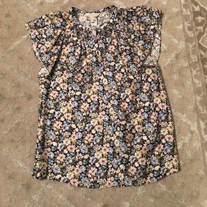 Rebecca Taylor smocked neck floral silk top - sz 2